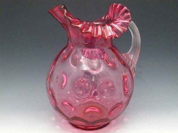 RUBY COIN SPOT VICTORIAN ART GLASS PITCHER
