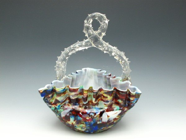 A THORN HANDLE VICTORIAN ART GLASS BASKET