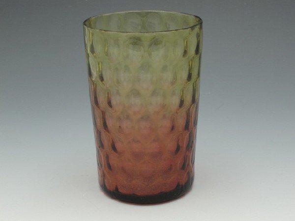 A VICTORIAN DIAMOND OPTIC AMBERINA GLASS TUMBLER