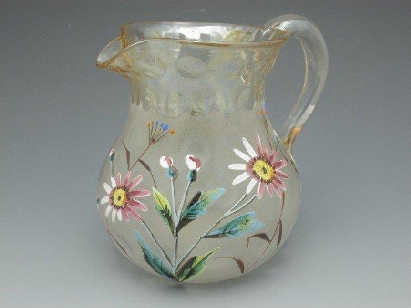 POMONA ART GLASS SMALL PITCHER WITH FLOWERS