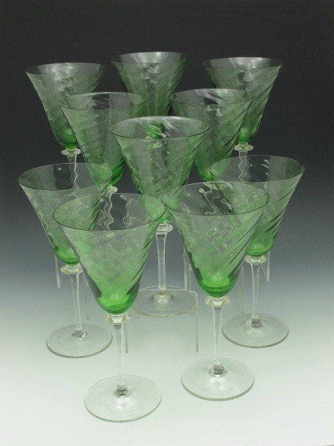 TEN STEUBEN GREEN SWIRL WINE GLASSES