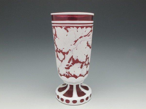 A HARRACH (attr) CUT BACK OVERLAY ART GLASS VASE