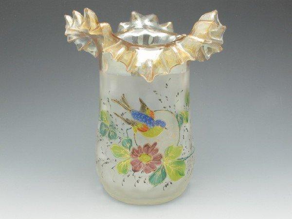 A POMONA ART GLASS VASE WITH ENAMELED BIRD & FLORALS