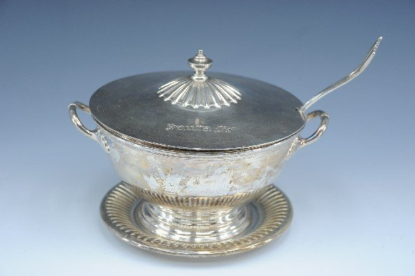 AT&SF SANTA FE SILVER TUREEN, COVER, LADLE, UNDERLINER