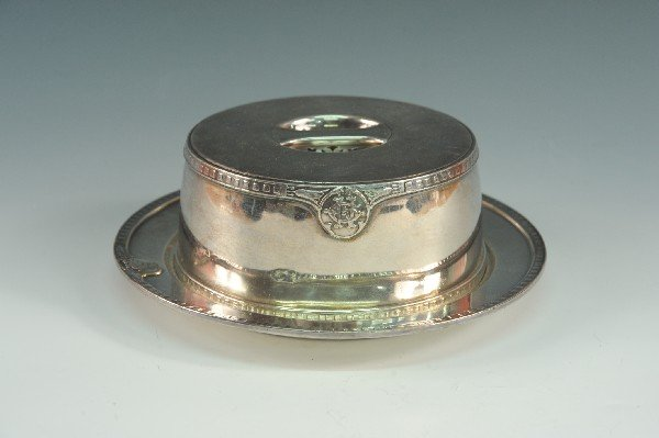 GREAT NORTHERN RY SILVER HOT CAKE PLATE AND COVER