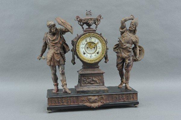 ANSONIA 'COMBATANTS' DOUBLE STATUE CLOCK