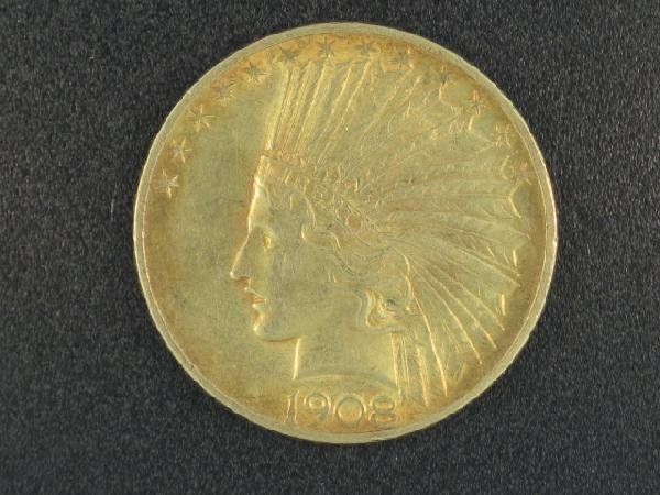 UNITED STATES 1908 $10.00 INDIAN GOLD COIN