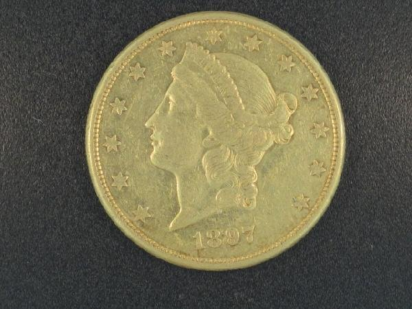 UNITED STATES 1897S $20.00 GOLD COIN