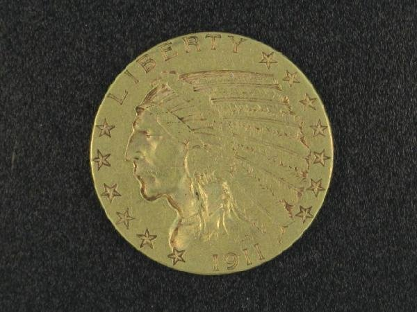 UNITED STATES 1911 $5.00 INDIAN GOLD COIN