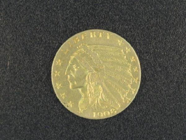 UNITED STATES 1908 $2 1/2 INDIAN GOLD COIN