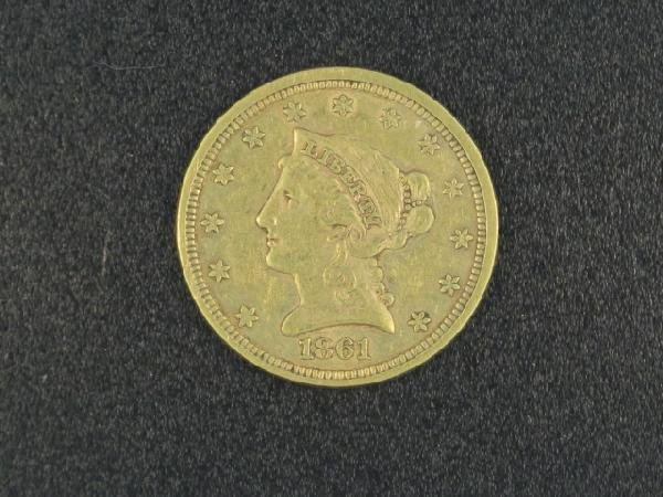 UNITED STATES 1861 $2 1/2 LIBERTY GOLD COIN