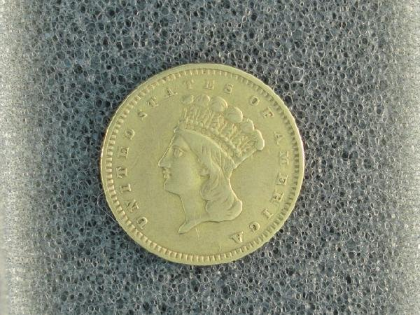 UNITED STATES 1857 $1.00 PRINCESS GOLD COIN