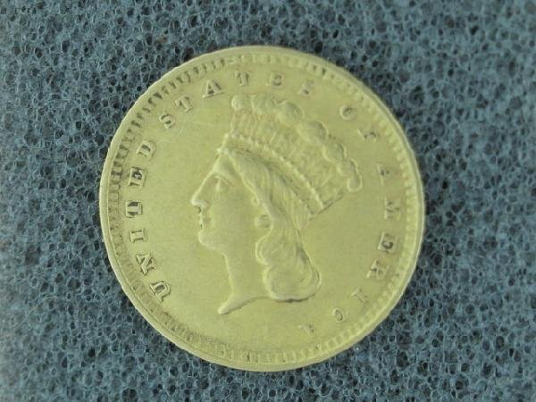 UNITED STATES 1862 $1.00 PRINCESS GOLD COIN