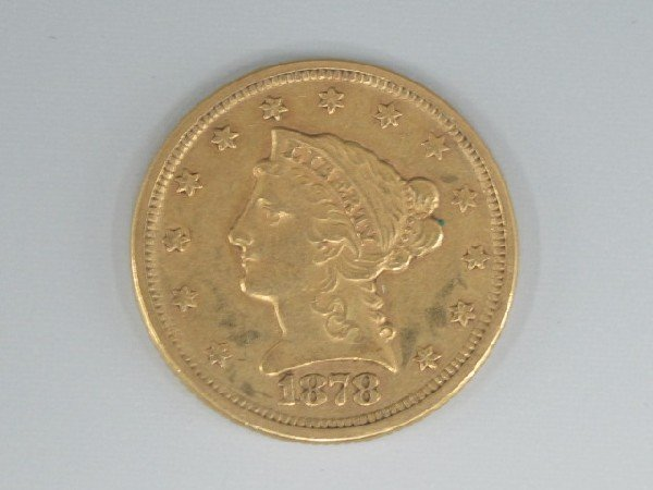 UNITED STATES 1878S  $2 1/2 LIBERTY GOLD COIN