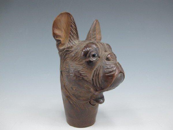 MECHANICAL CARVED WOOD DOG'S HEAD CANE HANDLE
