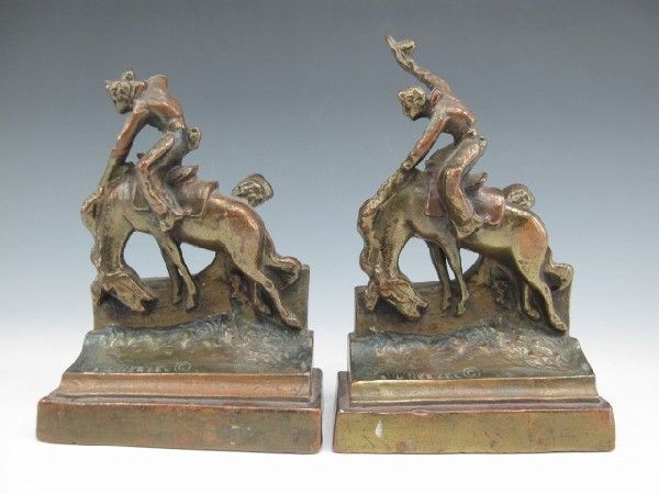 BRONZE CLAD BOOKENDS WITH RODEO COWBOY