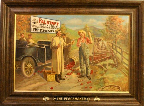 LEMP FALSTAFF BEER 'PEACEMAKER' TIN SIGN, MINT