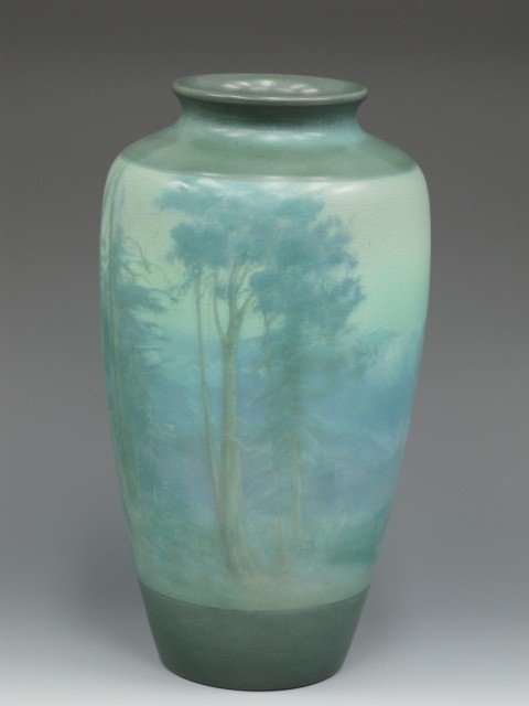 MONUMENTAL ROOKWOOD SCENIC VELLUM VASE BY EDWARD DIERS