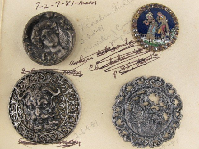 26 FIGURAL METAL BUTTONS, ONE CHAMPLEVE BUTTON