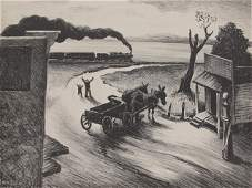 316 THOMAS HART BENTON PENCIL SIGNED LITHO