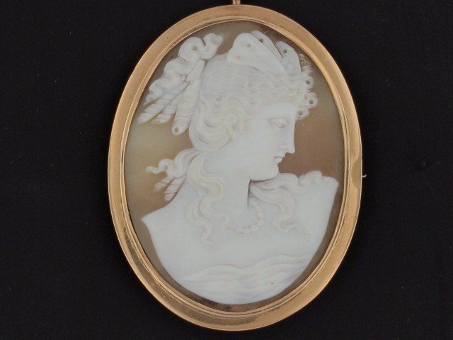 9: A VICTORIAN CARVED SHELL CAMEO IN GOLD