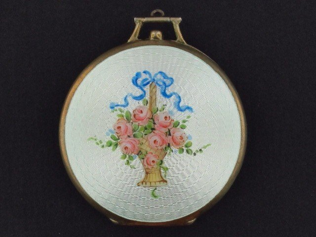 19: A STERLING SILVER AND GUILLOCHE' ENAMEL COMPACT