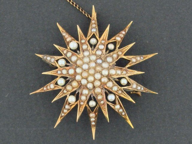 21: VICTORIAN GOLD SEED PEARL PIN