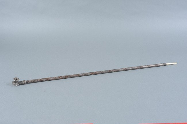 19TH C. CHINESE INLAID WOOD OPIUM PIPE