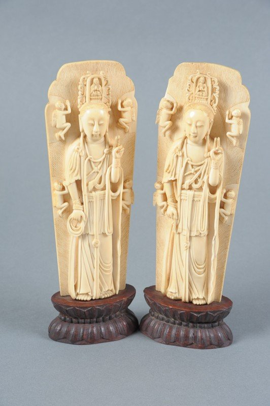 CHINESE CARVED IVORY BUDDHIST DEITIES GUANYIN