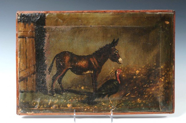 A LATE 19TH CENTURY OIL ON CANVAS WITH MULE & TURKEY