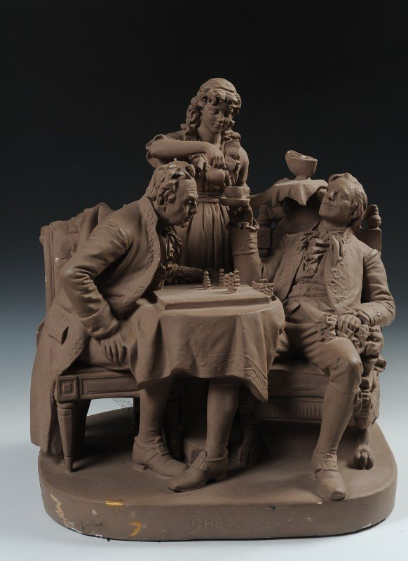 A JOHN ROGERS GROUP PLASTER TITLED CHESS