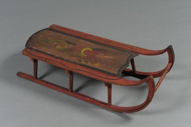 A 19TH C. BENTWOOD SLED IN ORIGINAL PAINT