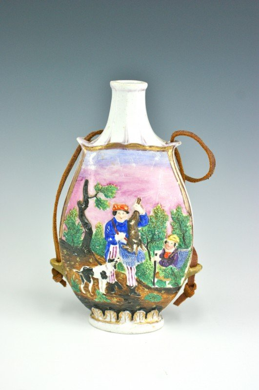 AN EARLY ENGLISH PORCELAIN BOTTLE