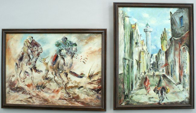 TWO NORTH AFRICAN OIL ON CANVAS PAINTINGS