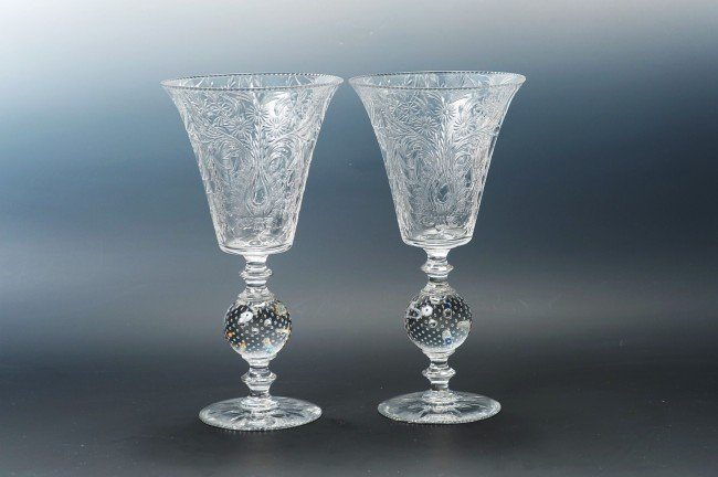 TWO CUT PAIRPOINT CHALICES WITH CONTROLLED BUBBLE STEMS