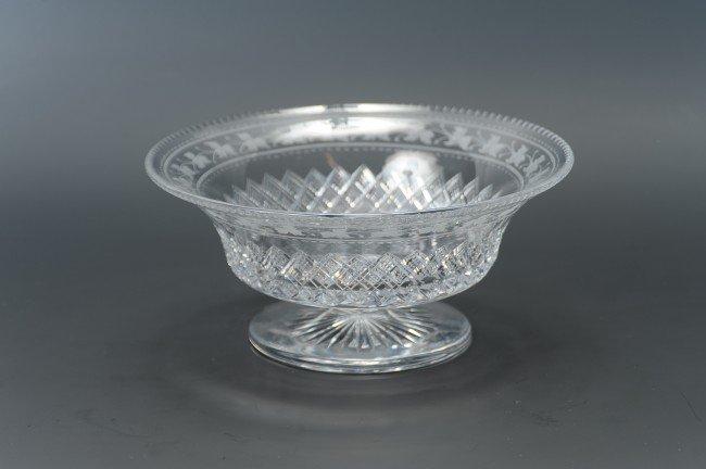 ATTRIBUTED THOMAS HAWKES PEDESTAL GLASS BOWL
