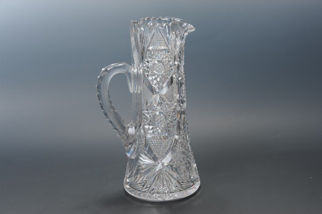 AN ABP CUT GLASS PITCHER SIGNED LIBBEY