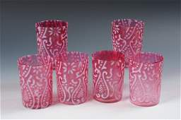 VICTORIAN ART GLASS OPALESCENT PITCHER AND SIX TUMBLERS
