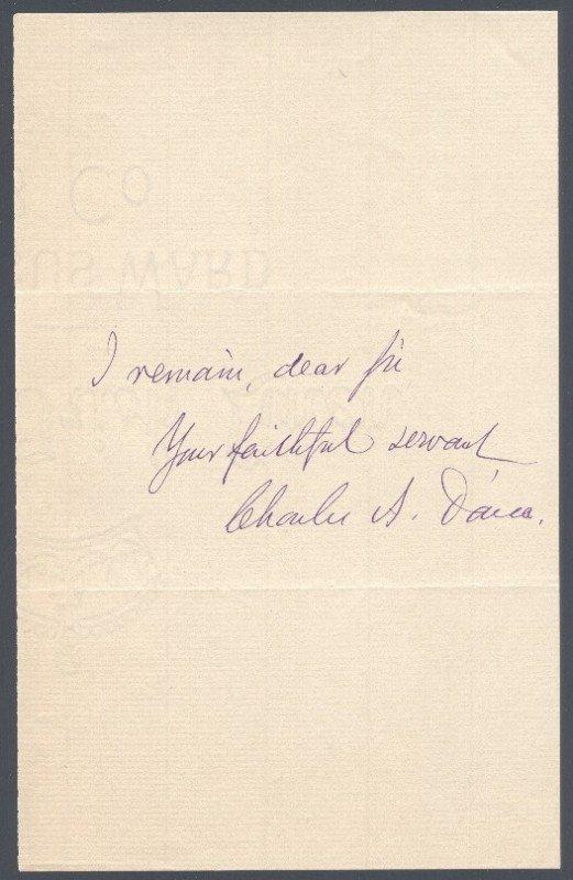 5: CHARLES A DANA (1819-1897) SIGNED HANDWRITTEN LETTER