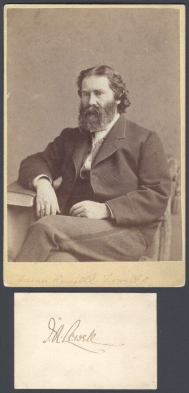 6: LOWELL, JAMES RUSSELL (1819-1891) SIGNED CARD AND PE
