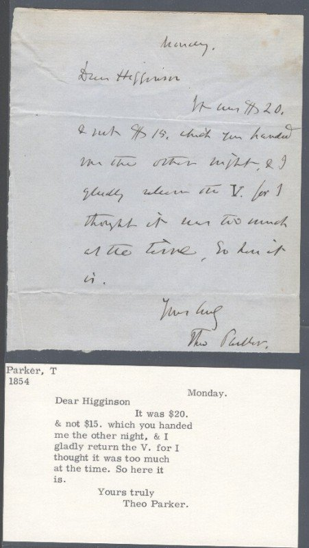 8: THEODORE PARKER (1810-1860) SIGNED LETTERS AND HANDW