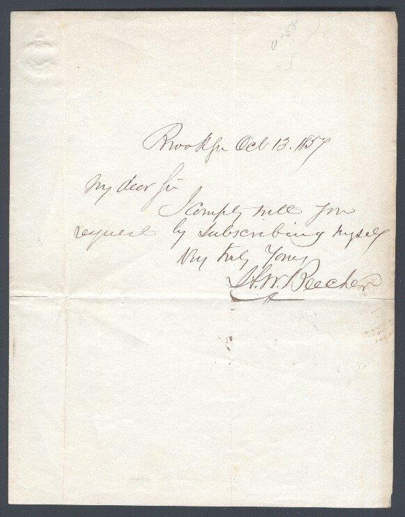 9: BEECHER, HENRY WARD (1813-1887) SIGNED LETTER