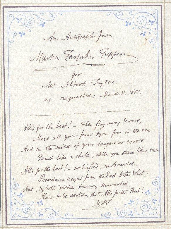 10: MARTIN FARQUAHR TUPPER (1810-1889) SIGNED LETTERS A