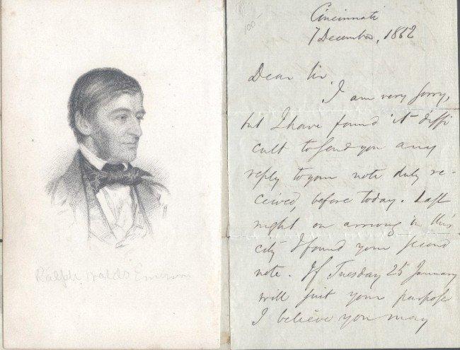 15: EMERSON, RALPH WALDO (1803-1882) SIGNED LETTER