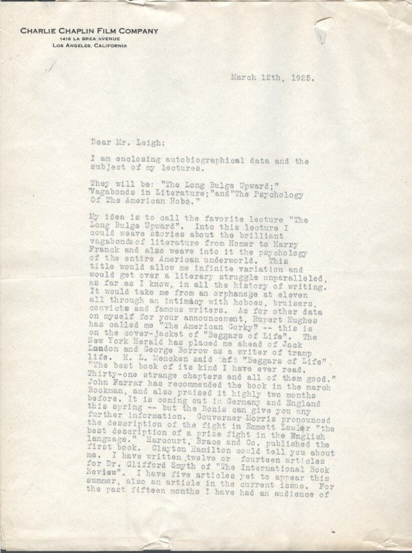 18: JIM TULLY (1886-1947) SIGNED LETTER