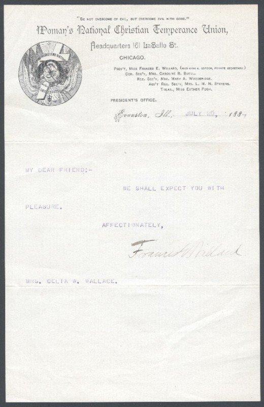19: WILLARD, FRANCES (1839-1898) SIGNED LETTER