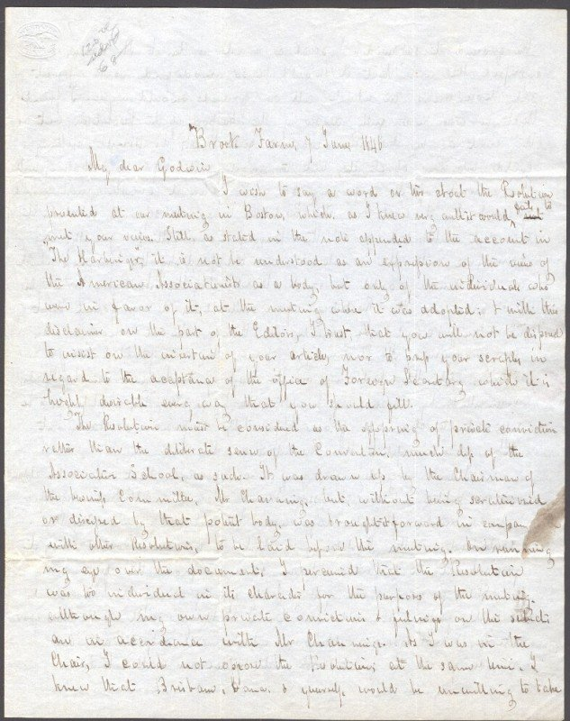 20: RIPLEY, GEORGE (1802-1880) SIGNED ALS FROM BROOK FA