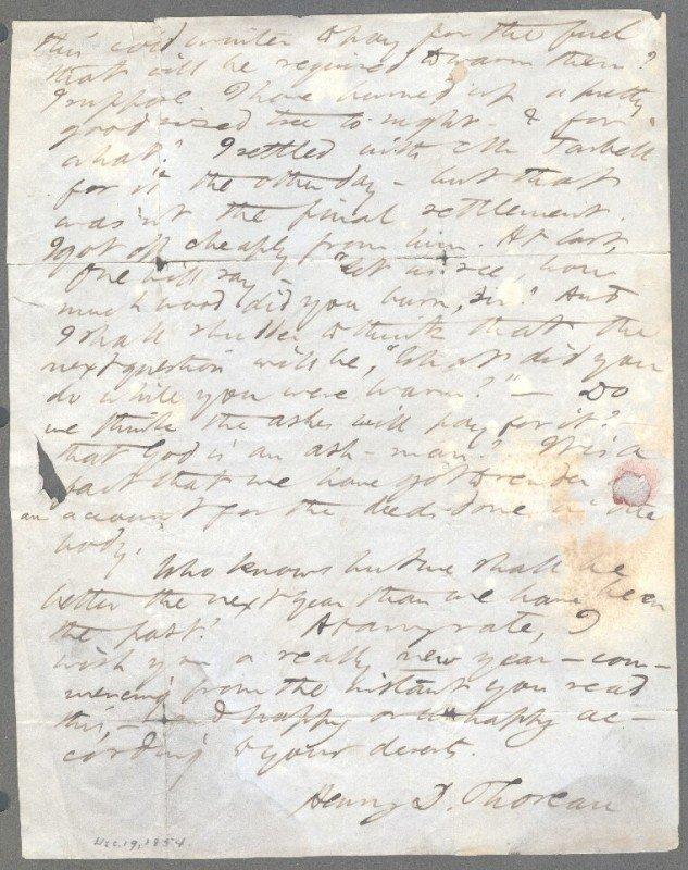21: THOREAU, HENRY DAVID (1817-1862) SIGNED LETTER