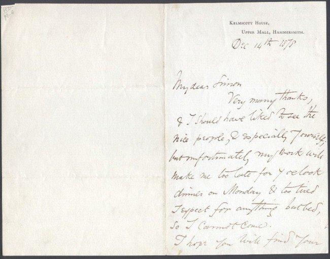 22: WILLIAM MORRIS (1834-1896) SIGNED HANDWRITTEN LETTE