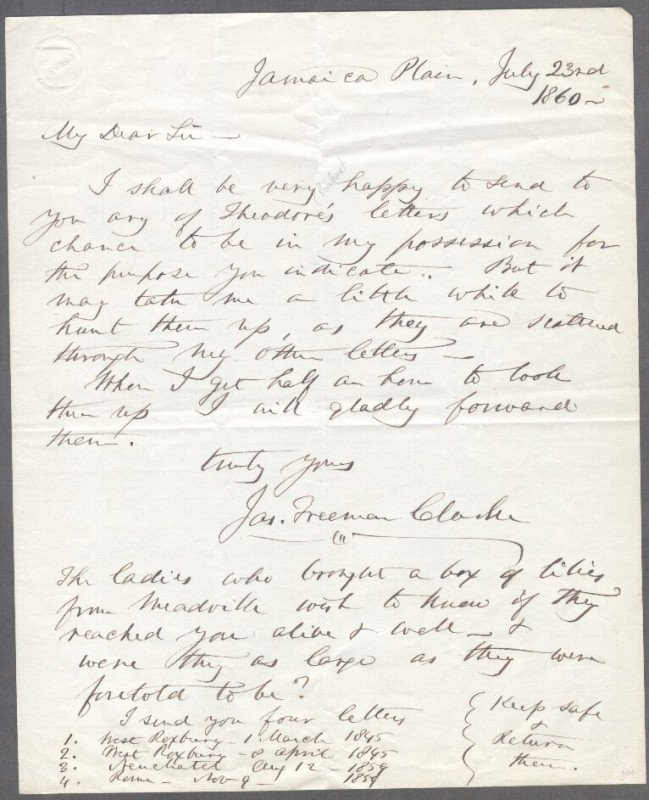 23: JAMES FREEMAN CLARKE (1810-1888) SIGNED LETTERS AND